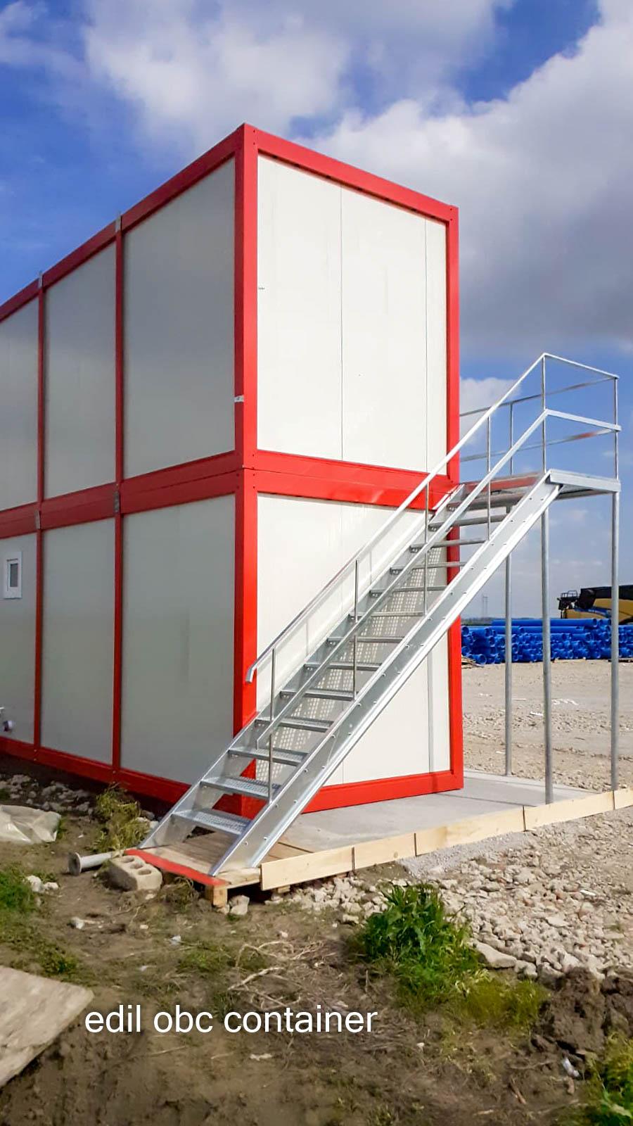 container birouri etaj alb-rosu-lateral